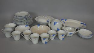 A hand decorated Art Deco part dinner service to include twelve plates, marked 'Cumberland' C J
