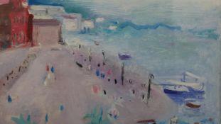 A gilt framed oil on board, Impressionist style beach scene, signed Jenssen. H.30 W.33cm