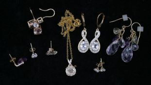 A collection of gold jewellery to include a pair of drop 9 ct gold Zircon earrings with certificate,