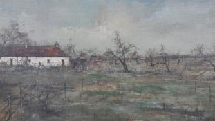 Attributed to Michel Girard, oil on canvas, French farm, artist's brief biography to reverse. H.48