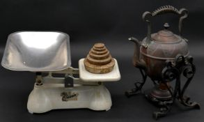 A pair of vintage 'The Queen' Weylux shop scales with weights along with an Arts and Crafts copper