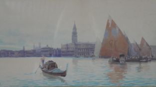 A framed and glazed watercolour of Venice lagoon with St. Mark's in the distance, indistinctly
