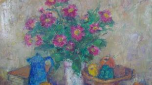 A mid century framed oil on canvas, still life flowers and fruit, indistinctly signed. H.86.5 W.