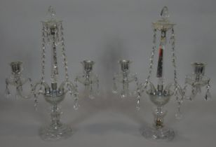 A pair of vintage twin branch table candelabras in glass and with cut crystal drops. H.49cm