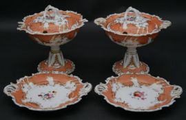 A pair of 19th century Chamberlains Worcester lidded bon bon dishes and the matching side plates