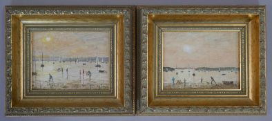 A pair of gilt framed oils on board, beach scenes, Digging for Bait, Sandbanks. signed B Shaw and