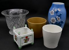 A Limoges hand decorated miniature planter, a Danish floral glazed bulbous vase and other glass