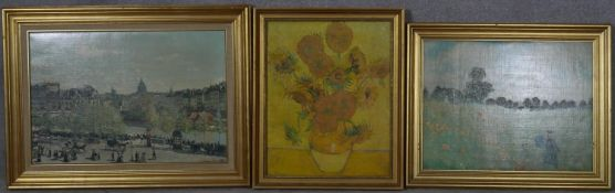 Three various gilt framed prints of French Impressionist works. H.59.5 W.79.5cm (Largest)