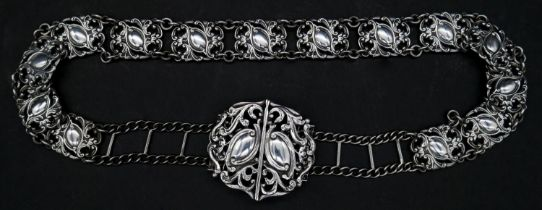 A sterling silver articulated adjustable nurse's belt hallmarked ESB for E S Barnsley & Co,