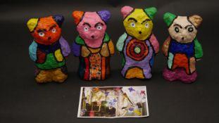 Four papier mache bear sculptures by local artist Nigel Carter, part of the 1000 Yippee Bears
