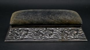 A Victorian embossed silver jewellery box with padded velvet lid and fitted interior, hallmarked