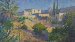 A framed oil on board, Impressionist style Tuscan landscape with villa, unsigned. H.50 W.63.5cm