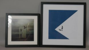 Two framed and glazed abstract prints, one with an door with crows and the other with a lone