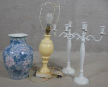 A vintage alabaster table lamp, a pair of painted candelabras and a Chinese style vase. H.53cm (