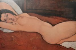 A large framed and glazed Modigliani print. H.85cm W.115cm