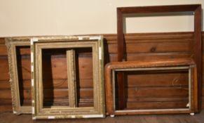 A Victorian Tunbridge inlaid mirror frame and three other various frames. H.100cm W.76cm (4)