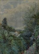 A gilt framed and glazed 19th century watercolour, figures on a path, indistinctly signed. H.52cm