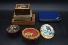 A Damascus inlaid box and a carved box along with a cased set of fruit knives, other boxes etc. H.