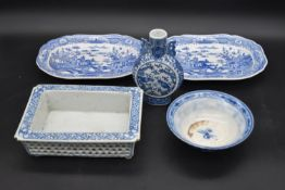 A pair of Spode blue and white serving trays, a Chinese blue and white flask along with a similar