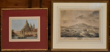 A 19th century engraving, a general view of the city of Pastum along with a coloured lithograph of
