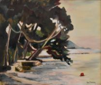 Ada Dawnay, a framed oil on canvas, coastal view Majorca, signed, Chelsea Art Society label to the