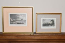 Two 19th century framed and glazed etchings, Hastings from the white rocks and Athens. H.24 W.