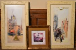 A pair of contemporary framed and glazed prints along with a smaller example. H.90 W.52, H.45 W.45cm