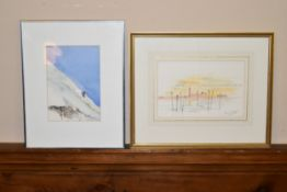 Gerry Goldwyre, watercolour, Venice lagoon, signed and another of an alpine skier by the same