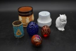 A Lambeth Doulton tobacco jar and various other items of ceramics and glass. H.12 W.10cm