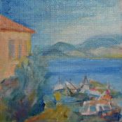 A framed oil on canvas, The Harbour, Kamini Hydra, artist's label to the reverse. H.28 W.28cm