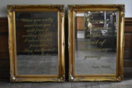 A pair of Rococo scroll gilt framed wall mirrors with bevelled plates each bearing an Oscar Wilde