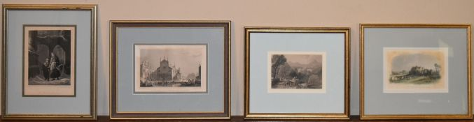 Four miscellaneous 19th century framed and glazed etchings, various subjects. H.31 W.25cm (largest)