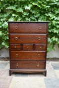 A vintage mahogany Stag furniture chest of drawers. H.112 W.82 D.47cm