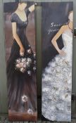 A pair of large contemporary oils on canvas, female figures in evening dress. H.199 W.150cm
