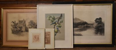 A signed 19th century etching, a print of birds signed and numbered Edwin Perry, a framed pencil