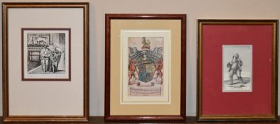 A signed engraving along with two framed prints; coat of arms and a medieval musician. H.31 W.22cm