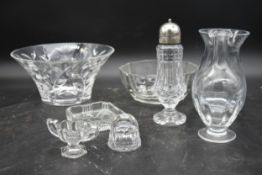 A miscellaneous collection of glass to include bowls, vases, a shaker, etc. H.12 W.25cm (largest