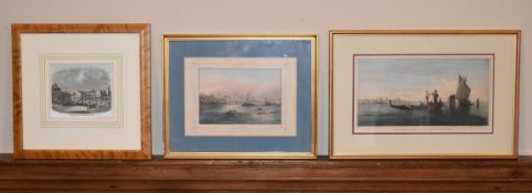 Three framed, glazed and mounted 19th century prints, The Venice Lagoon, Constantinople and
