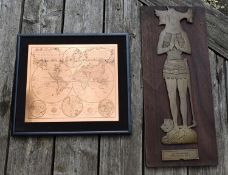An engraved copper Mappe Monde and a medieval knight, Sir John de Foxley. H.56 W.62cm (Mappe Monde)