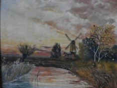 An oil on board, Dutch riverscape, indistinctly signed and dated bottom right in ornate gilt