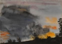 A framed and glazed watercolour, storm clouds in a sunset, indistinctly signed. H.47 W.55cm