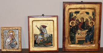 A contemporary Greek religious icon, hand painted and decorated with gold leaf with certificate to