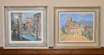 Virginia Ridley, framed oil on board, Santa Croce, Venice, and another by the same artist, Old