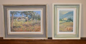 Virginia Ridley, a framed oil on board, Young Poplars, Beausac and an oil on board by the same