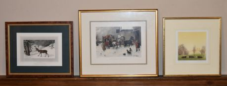 A signed and numbered etching by Frans Wesselman (B.1953), Anson's Field along with two framed and