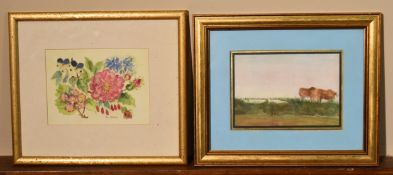 A framed and glazed watercolour, still life flowers, signed and a watercolour of cattle on farmland.