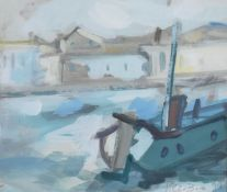 A framed and glazed acrylic on board, expressionist style canal barge, indistinctly signed. H.37 W.