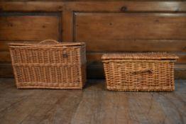 Two wicker hamper baskets. H.33 W.50 W.37cm (largest)