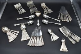 An extensive King's pattern silver plated canteen of cutlery for eight settings marked EPNS A1