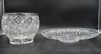 A large cut leaded crystal fruit bowl along with a similar platter. W.40cm (platter) H.20cm (bowl)
